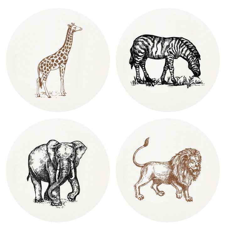 Letterpressed Zoofari Coasters