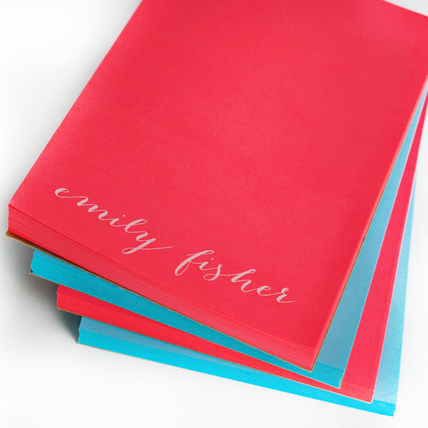 Personalized Letter White on Bright Notepads