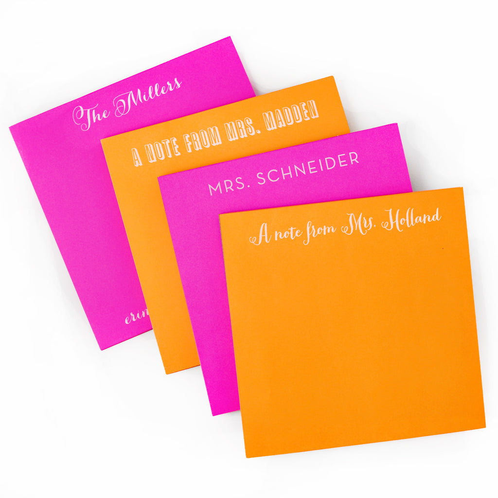 Personalized Square White on Bright Notepads