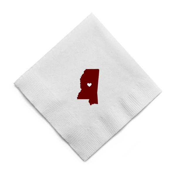 State of Mississippi with Heart - Mississippi State