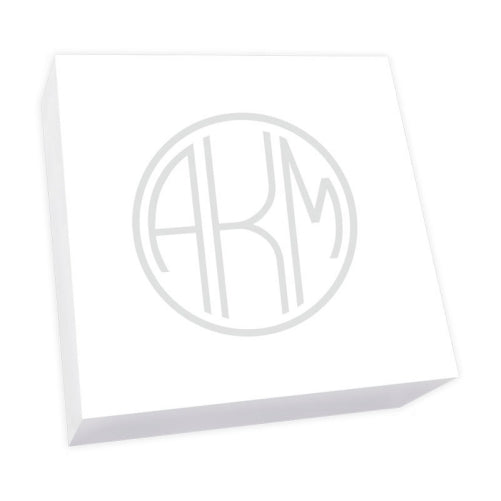 Henley Watercolor Monogram Desk Slab - White