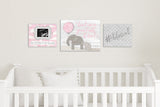 "Elephant Nursery Art - Pink 14""x11"""