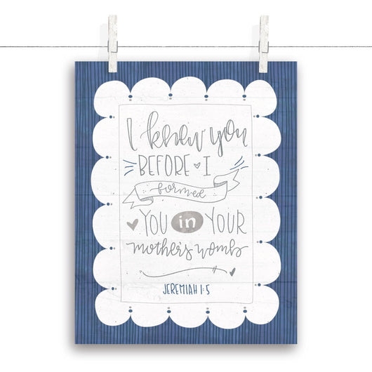 Jeremiah 1:5 Nursery Art - Navy 11