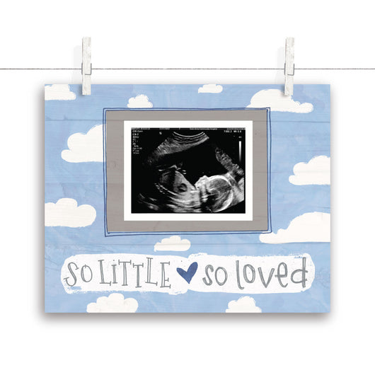 So Little So Loved Cloud Nursery Art - Blue 10