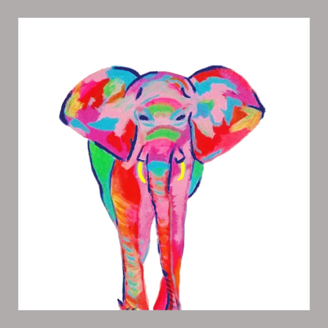 Bright, colorful, original, abstract 10x10 elephant print.