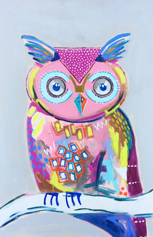 Bright, colorful, abstract 12x18 owl print.