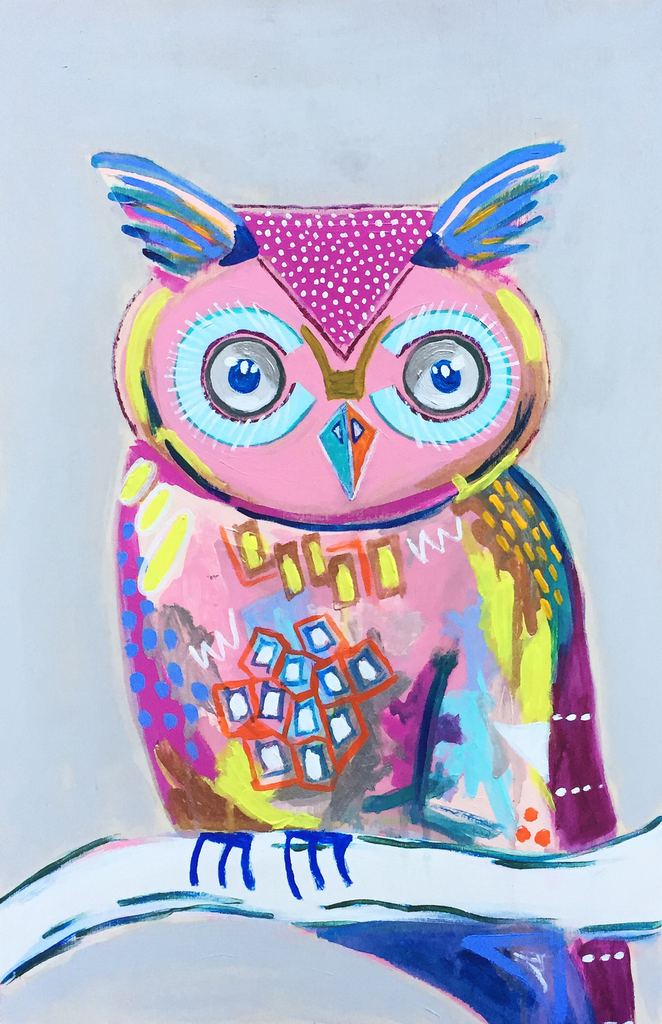 Bright, colorful, original, abstract, acrylic 12x18 owl painting.