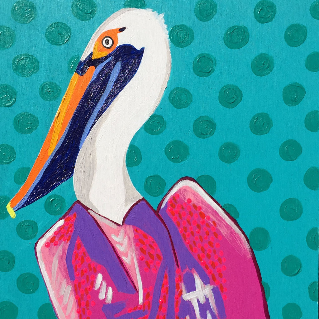 Bright, colorful, original, abstract, acrylic 10x10 pelican painting.