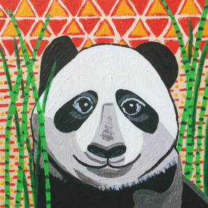 Bright, colorful, original, abstract, acrylic 6x6 panda painting.