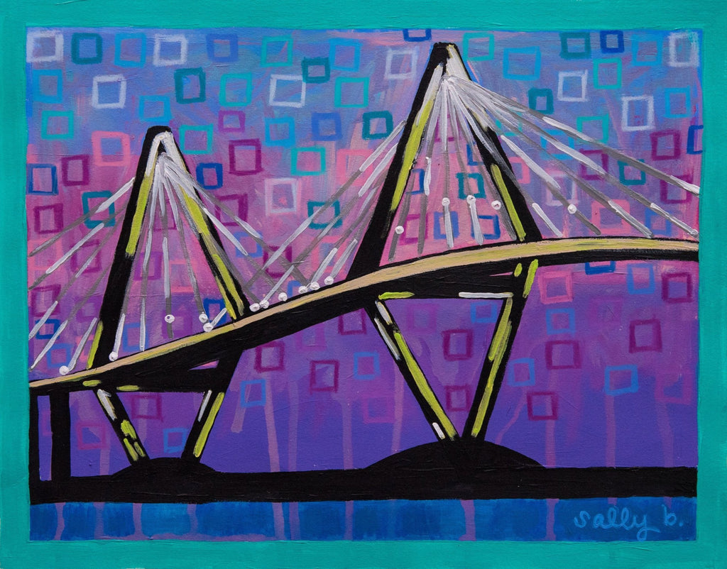 Bright, colorful, original, abstract 11x14 print of the Arthur Ravenel, Jr. bridge in Charleston, SC.