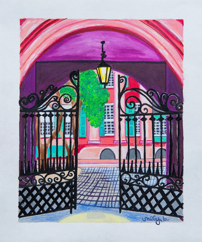Bright, colorful, original, abstract 8x10 print of Porter's Lodge at College of Charleston.