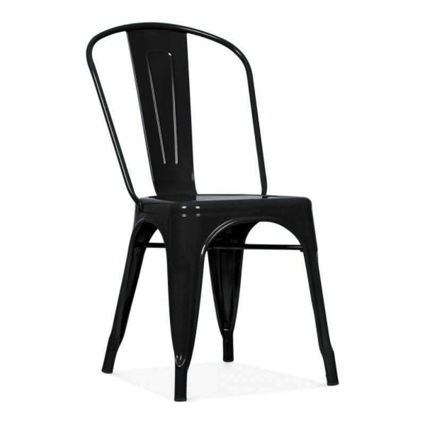 Tolix Style Metal Side Chair T-09 (Black)