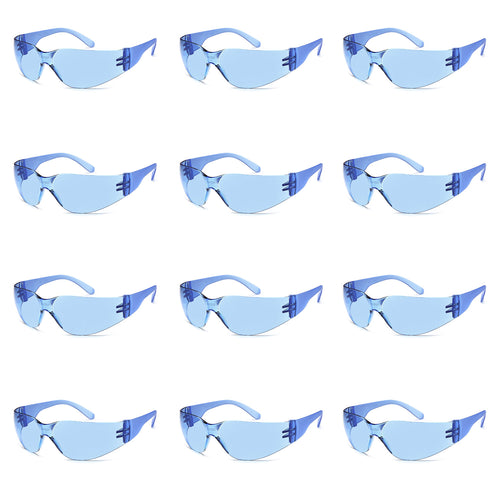 TRUST OPTICS 12 Pack Impact and Ballistic Resistant Safety Protective Glasses with Blue Lenses