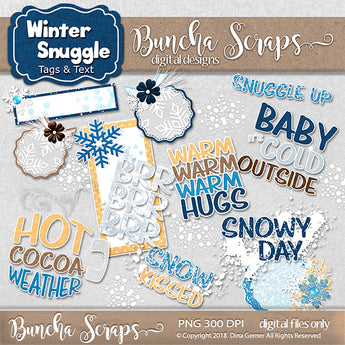 Winter Snuggle Tags & Word Art