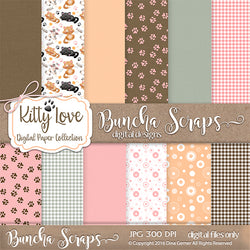Kitty Love Pattern Background Papers