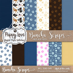 Puppy Love Pattern Background Papers