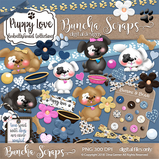 Puppy Love Digital Embellishments