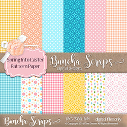 Spring Into Easter Pattern Scrapbook Paper