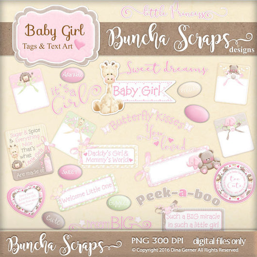 Baby Girl Tags & Text Art