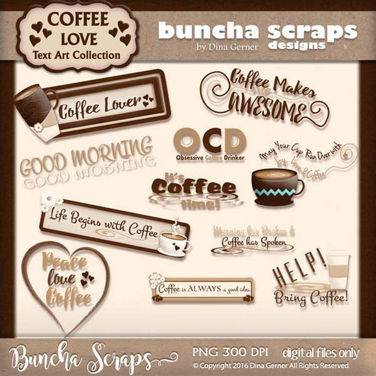 Coffee Love Tags & Word Art
