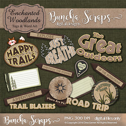 Enchanted Woodlands Tags & Word  Art