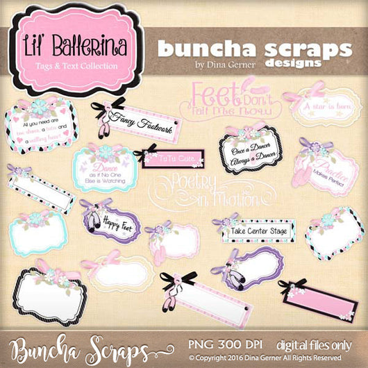 Lil' Ballerina Tags & Word Art