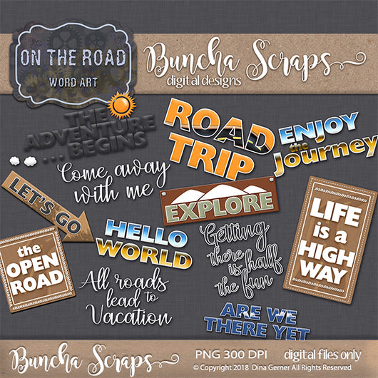 On the Road Digital Scrapbook Titles