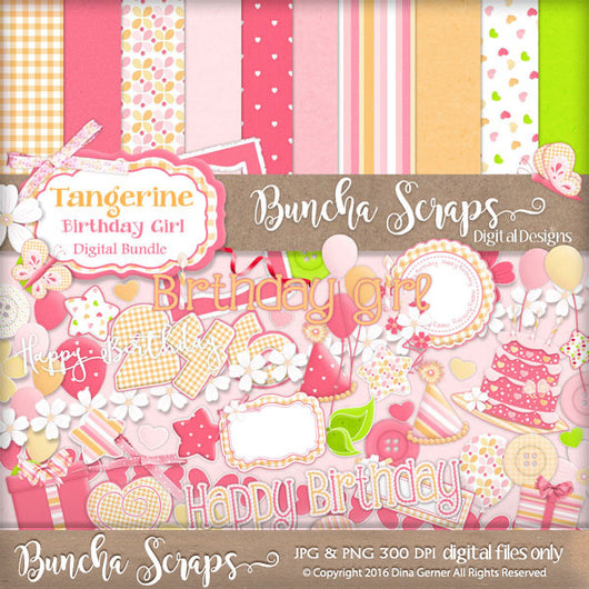 Tangerine Birthday Girl Party Bundle