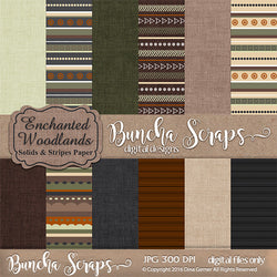 Enchanted Woodlands Solids & Stripes Pattern Paper