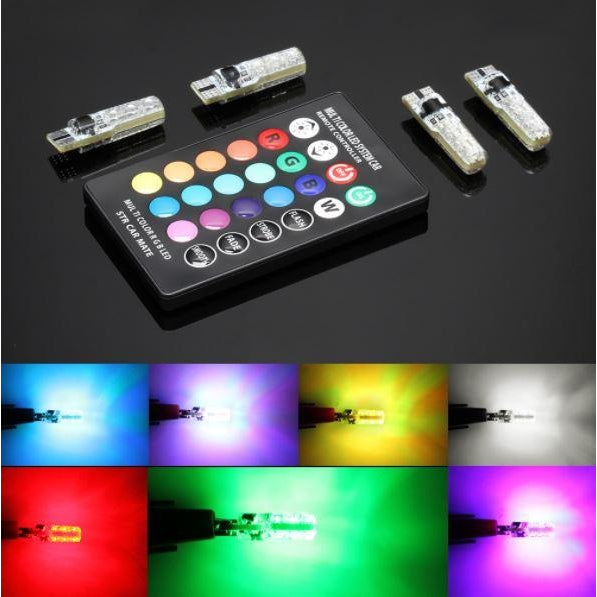 4Pcs 501 LED Car Light RGB With Remote Control - CuSToMod