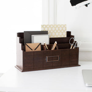 Brown Wooden Mail Organizer - 3 Tier Brown Desk Organizer