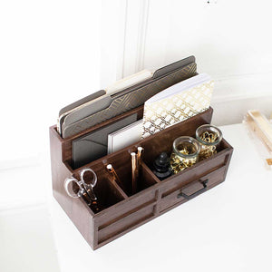 Brown Wood Mail Organizer with Pen Holder and Drawer