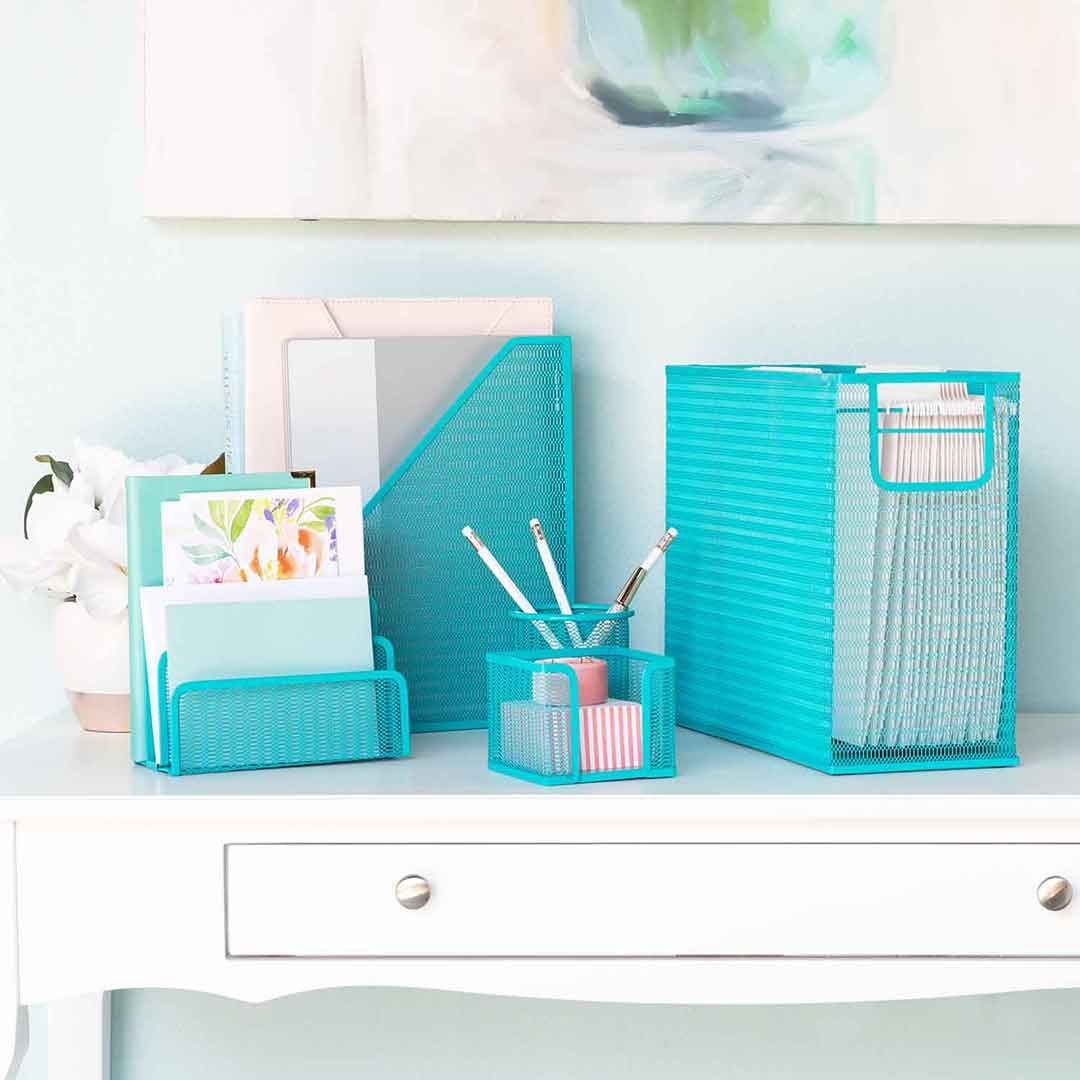 Monte 5 Piece Teal Desk Organizer Set With Desktop Hanging File Organi Blu Monaco