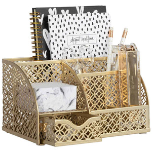 Riviera Designer Metal Desk Organizer with Drawer - Gold