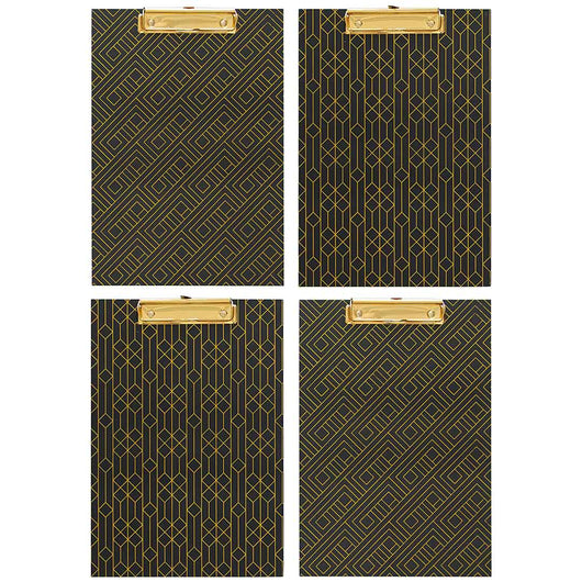 Set of 4 Decorative Clipboards with Dark Geometric Patterns and Gold foil