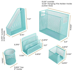 Monte 5 Piece Aqua Desk Organizer Set with Desktop Hanging File Organizer