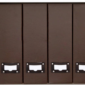 Foldable Magazine File Holder with Leather Label Holder - Set of 6 - Brown