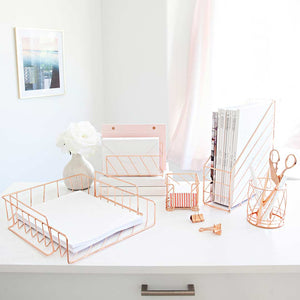 Fontvielle Rose Gold Desk Organizer Set - 5 Piece - Metal Wire - Diagonal Pattern