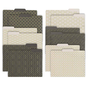 Decorative File Folders - 1/3 Cut Tabs - Letter Size - Set of 12 - 2 Each of 6 Cute Patterns with Gold Foil (Dark Gray and Cream)
