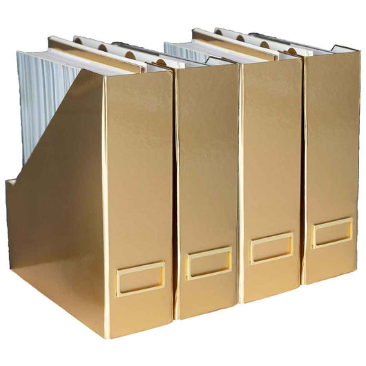 Foldable Magazine File Holder with Gold Label Holder - Set of 4 - Gold