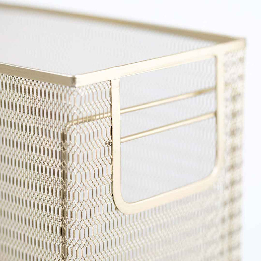 Metal Mesh Gold 5 Piece Desk Organizer Set