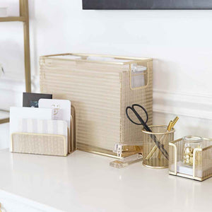 Monte 5 Piece Gold Desk Organizer Set with Desktop Hanging File Organizer
