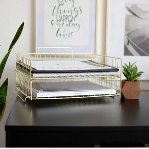 Fontvielle Gold Stackable Paper Tray - Set of 2 - Metal Wire - Letter Size