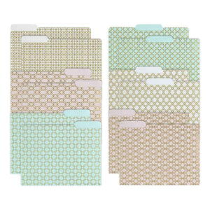 Decorative File Folders - 1/3 Cut Tabs - Letter Size - Set of 12 - 2 Each of 6 Cute Patterns with Gold Foil (Pink Aqua and Cream)