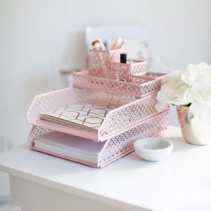Riviera 6 Piece Pink Interlocking Desk Organizer Set