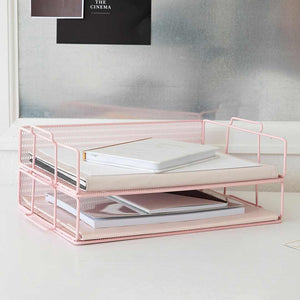 Monte Stackable Pink Paper Tray - Set of 2 - Letter Size