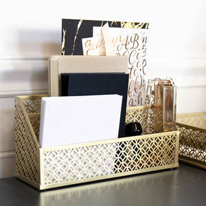 Riviera 6 Piece Gold Desk Organizer Set