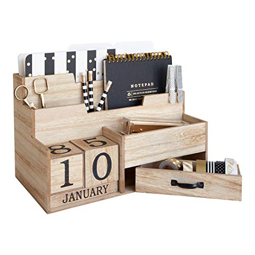 Wooden Mail Organizer Desktop with Block Calendar – Mail Sorter Countertop Organizer – Desk Decorations for Women Office - Blu Monaco