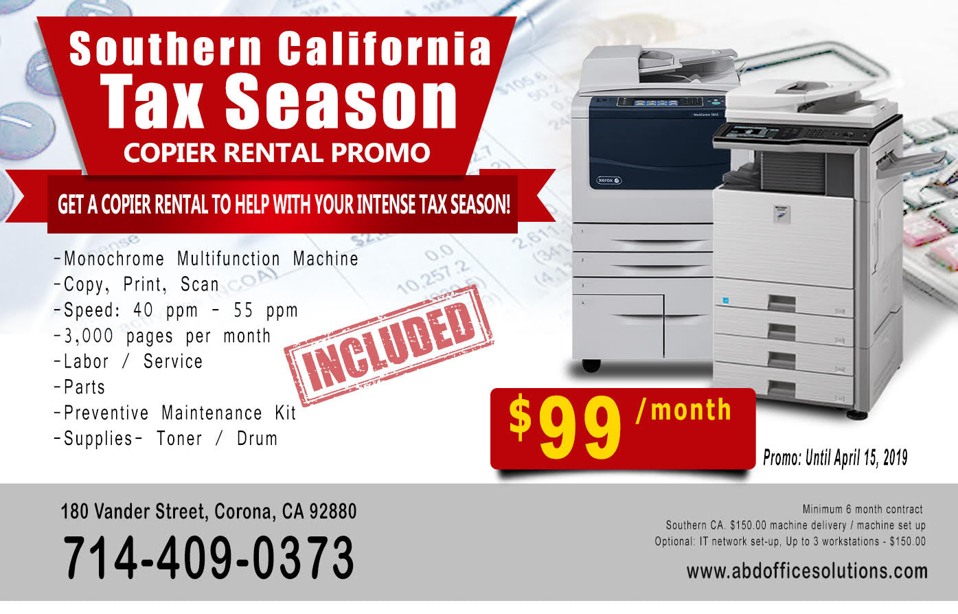 Copier Rental Tax Season Southern California