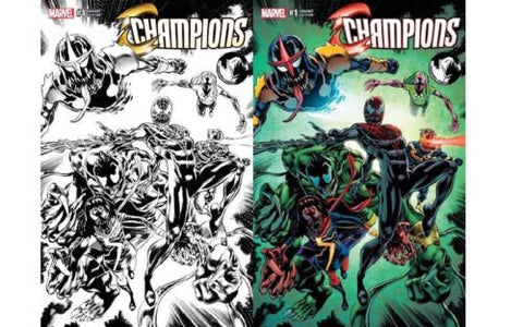 Champions 1 Variant Venom Unknown Comics Exclusive Color & B&W Set ...